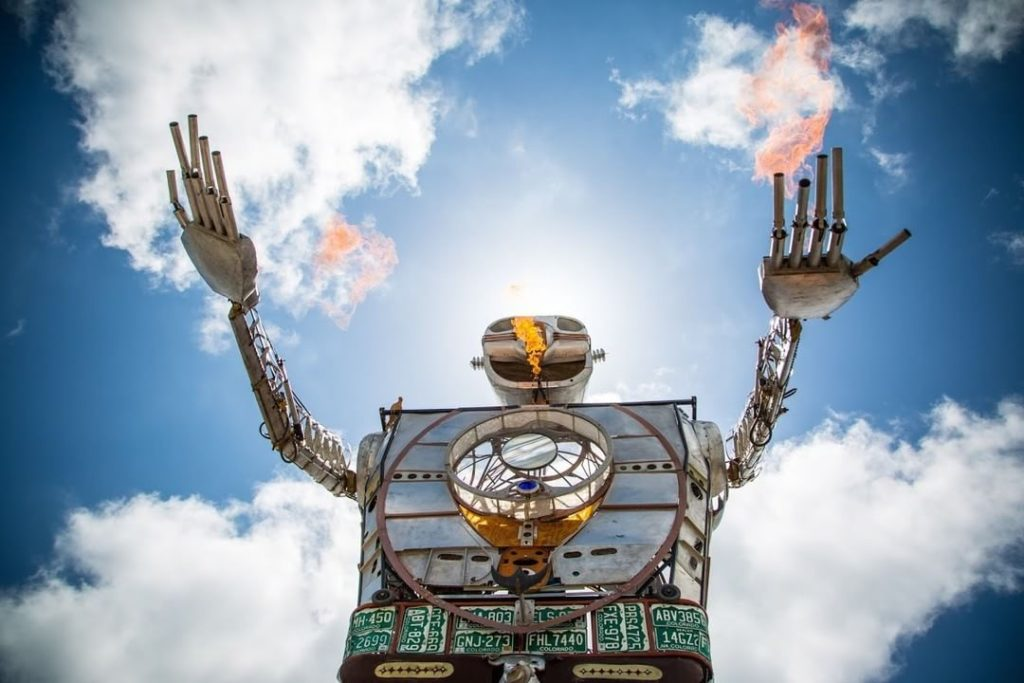 A fire-breathing robot from last year's World Maker Faire at the Queens Hall of Science. It returns this weekend, Oct. 1-2. Photo: Velleman Store