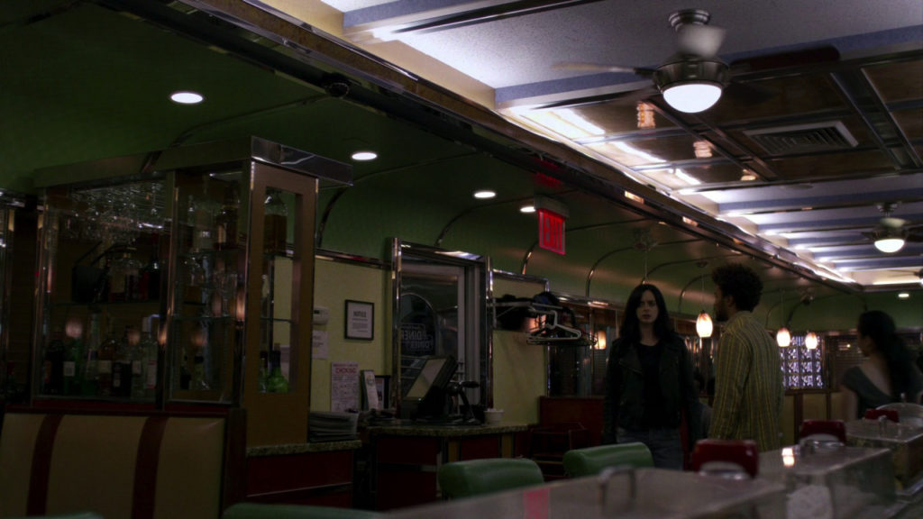 Jessica Jones in the Court Square Diner.