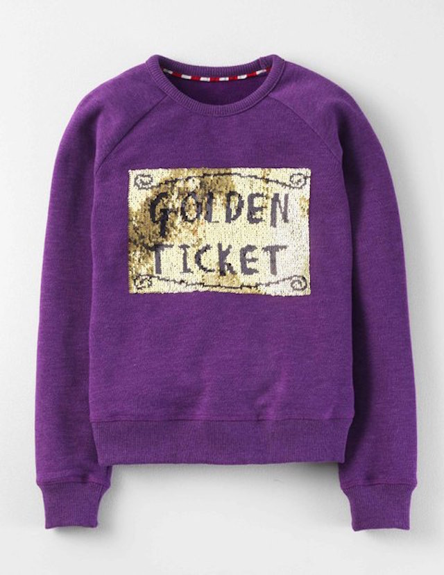 This Roald Dahl inspired sweater has 2-way sequins, which makes it magically change colors. Photo: Mini Boden