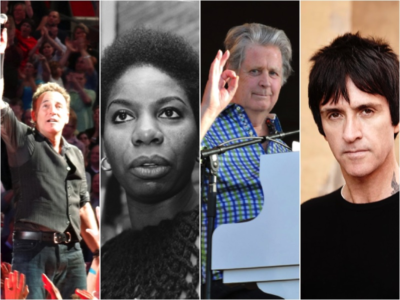 Bruce Springsteen (GabboT/Wikimedia Commons); Nina Simone (By Kroon, Ron / Anefo/Wikimedia Commons); Brian Wilson (Takahiro Kyono/Wikimedia Commons); Johnny Marr (Jon Shard)