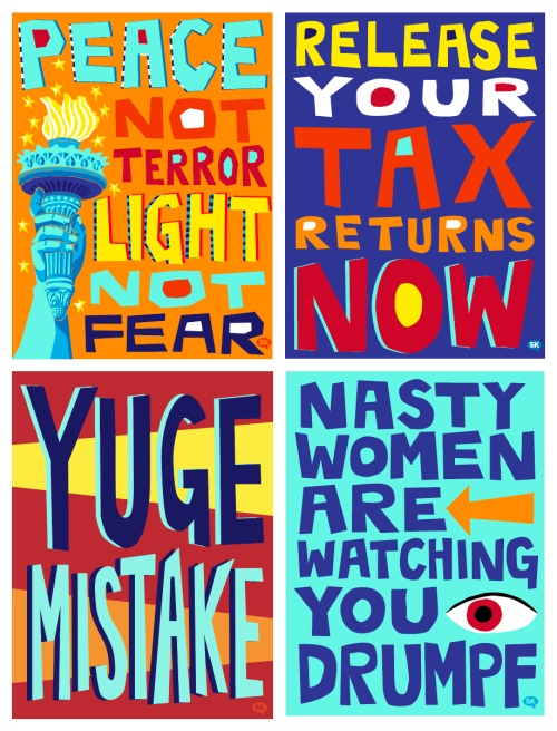 Just Arting Around created these four signs for use at the Womens March.