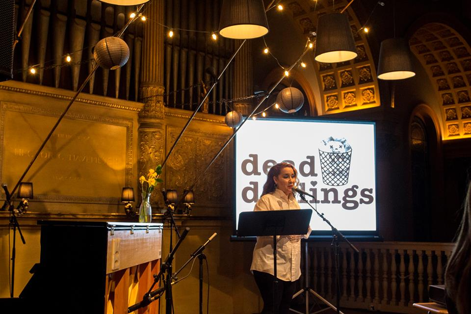 Duarte in action at the most recent edition of Dead Darlings. Photo: Michelle Y. Thompson