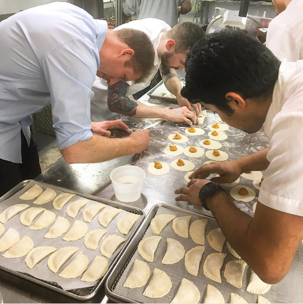 Making uni and sweet potato pierogies at Olmsted is a labor of love. Photo: @olmstednyc