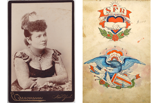 Show kids that making a statement doesn't have to be done on paper. 1) Charles Eisenmann (1855–1927). Nora Hildebrandt, ca. 1880. Albumen photograph mounted on cardboard. Collection of Adam Woodward. 2) Samuel O'Reilly (1854–1909). Eagle and shield, ca. 1875–1905. Watercolor, ink, and pencil on paper. Courtesy of Lift Trucks Project