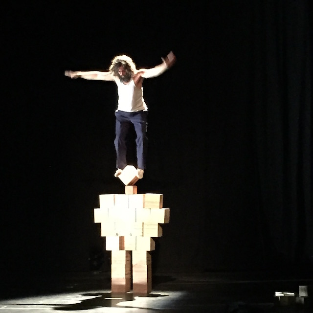 With daring feats and dangerous stunts, Nacho Flores made every kid in the audience rethink playing with blocks. Photo: Meredith Craig de Pietro