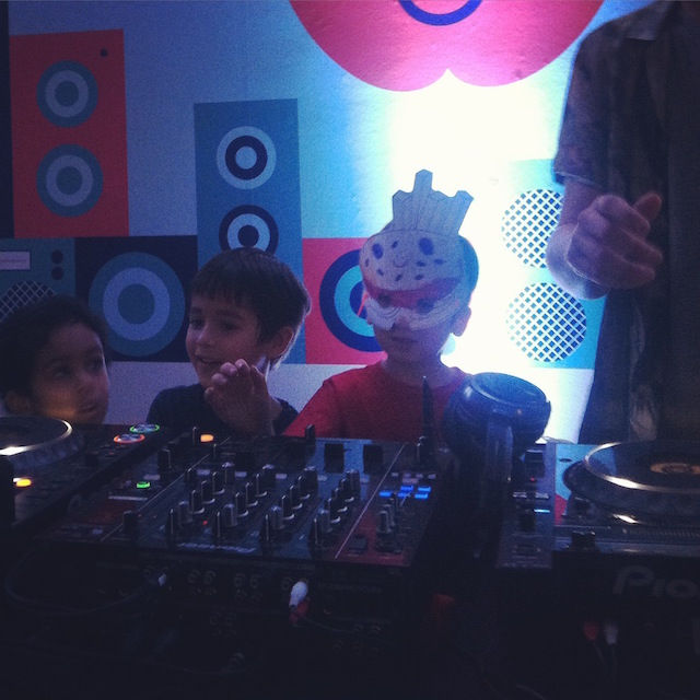 Kids got a chance to get behind the turntables at this family dance party. Photo: Antonio de Pietro