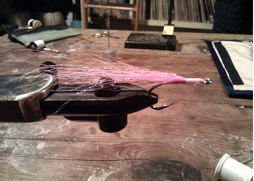 A fly from a recent fly-tying workshop at Brooklyn Rod and Gun Club