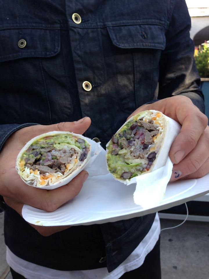 Steak and eggs in a burrito becomes a breakfast of champions at El Diablo's taco truck in the backyard of Union Pool. Photo: El Diablo