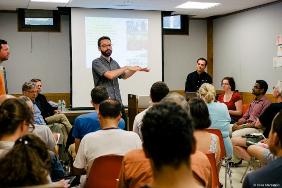Max Joel with Solar One talks solar energy at a Solarize Brooklyn education session at Cortelyou Library.