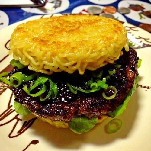 The Ramen Burger in all its glory. Photo: Eataku