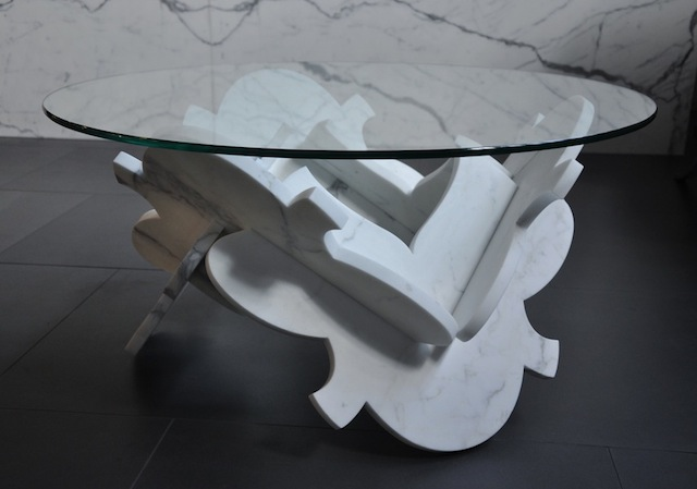 April Hannah's new Lotus Coffee Table in Statuary Marble will be on view at Factory Floor this weekend. Credit: April Hannah
