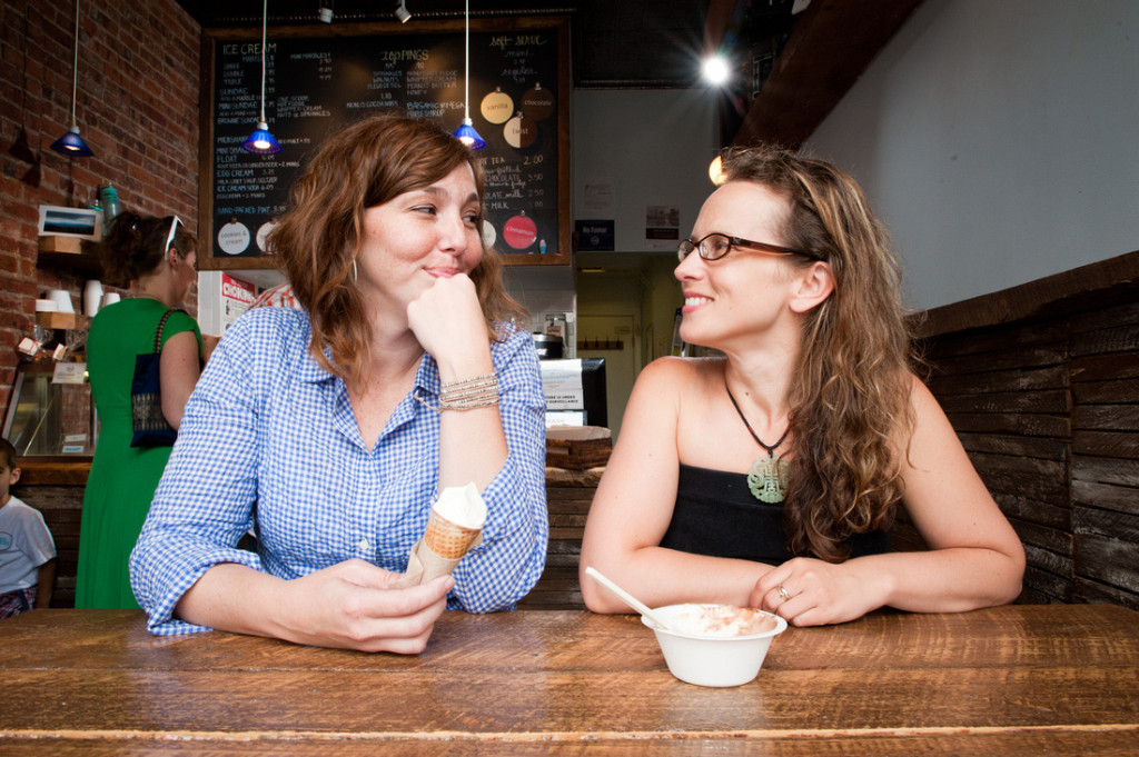 """Alexis Miesen (left) and Jennie Dundas, the founders of Brooklyn's Blue Marble Ice Cream, are part of """"Sweet Dreams,"""" a new documentary about the Rwandan women they helped open the country's first and only ice cream shop. Photo: Sweet Dreams"""