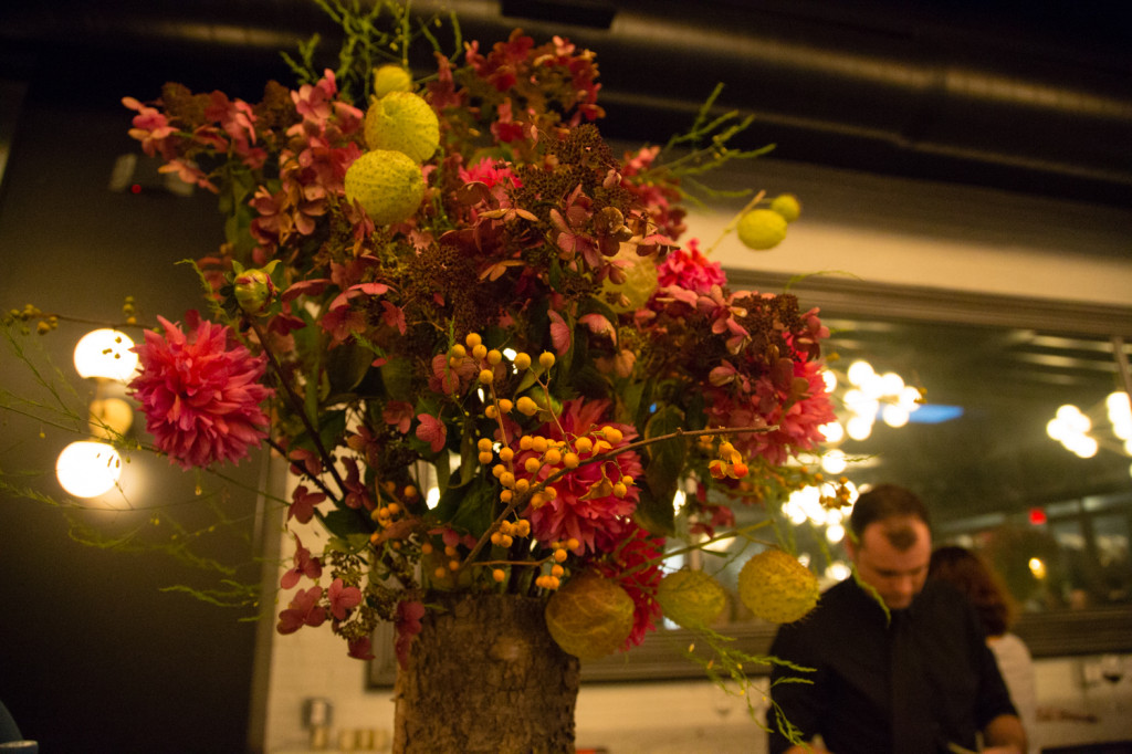 Alexandra Abuzza Floral & Garden designed the arrangements for the main gallery bar. Credit: Jeannette D. Moses