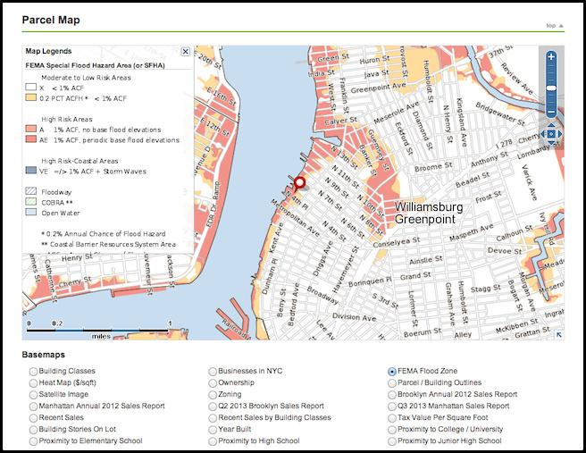 Point2 Homes Williamsburg Brooklyn parcel map FEMA flood zones.png