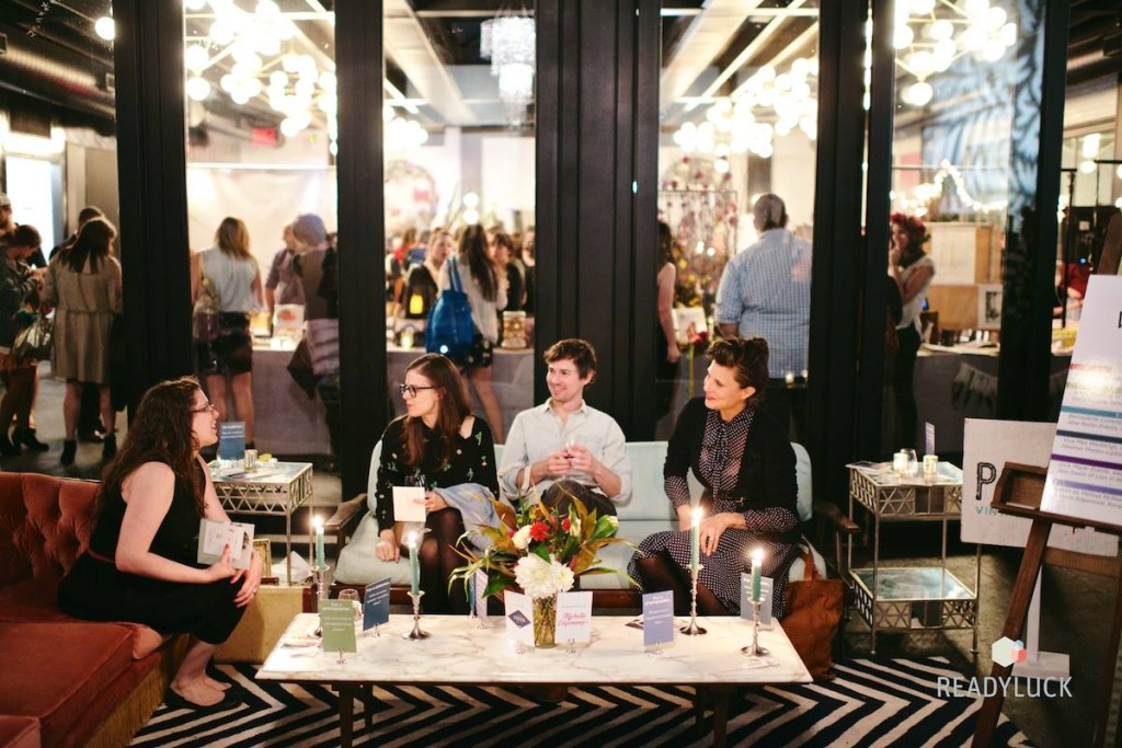 """Michelle Edgemont designed our """"Ask the Wedding Expert Lounge"""" with the help of Patina Rentals, and Viva Max Weddings curated the experts. In the booth, Viva (left) and Heather Phelps-Lipton (far right). Credit: Readyluck"""