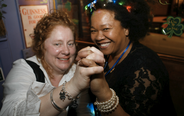 Ginger's bar owner Sheila Frayne with her partner Margarette Adams, celebrating a Ginger's anniversary on St. Patti's Day. Photo: Jeff Connell