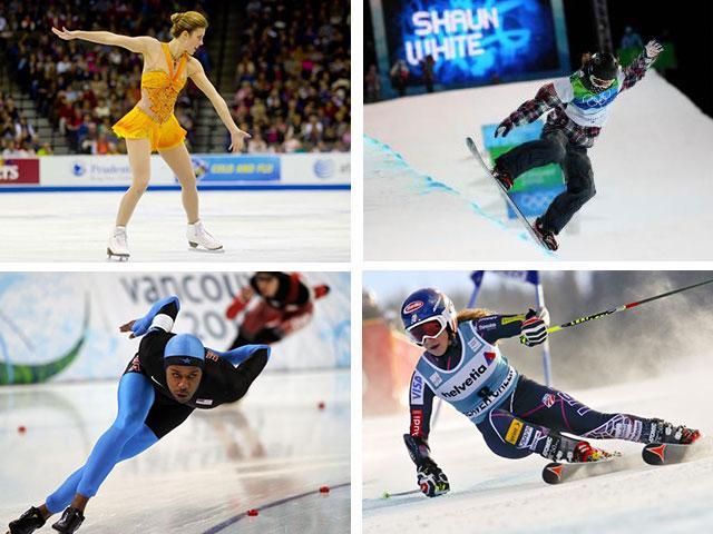 Clockwise from top left: Figure skater Ashley Wagner, snowboarder Shaun White, alpine skier Mikaela Shiffrin and speed skater Shani Davis. Photos: NBC