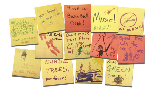 Some of the 10,000 comments considered as part of Governors Island's park expansion. Photo: Trust for Governors Island