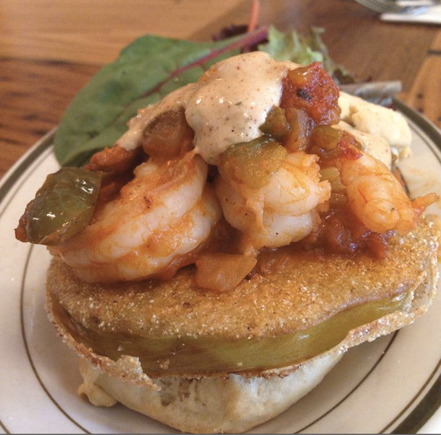 """The shrimp and fried green tomato topped """"Ruby"""" biscuit. Photo: BeeHive Oven"""