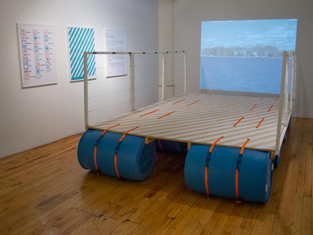 An eight-foot wide prototype of Citizen Bridge in Nancy Nowacek's studio at the Marie Walsh Sharpe Foundation Space Program. Photo: Nancy Nowacek