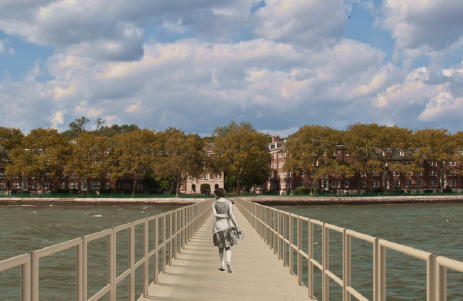 Citizen Bridge would span Buttermilk Channel and allow pedestrian passage for one day between Red Hook and Governors Island. Image: Nancy Nowacek