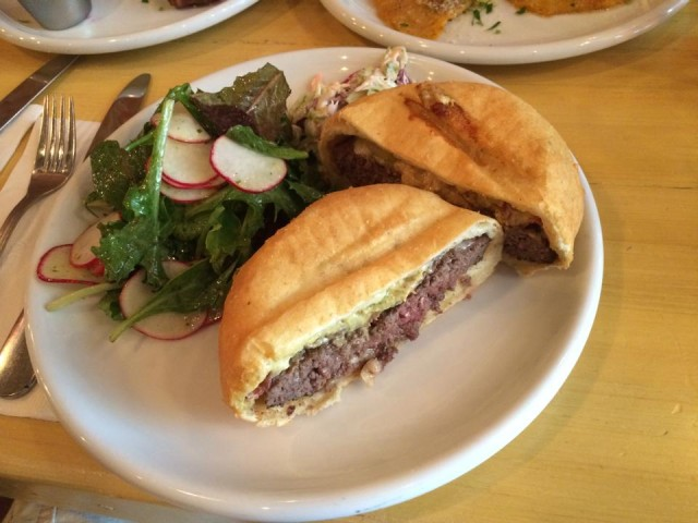 The burger at Brooklyn Beet Company, wrapped in Hungarian flatbread. Photo: Brooklyn Beet Company