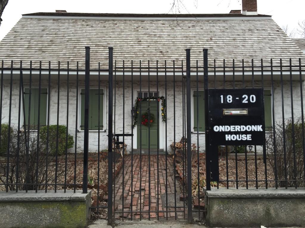 Outside the VanderEnde Onderdonk House, located at 18-20 Flushing Ave. Photo: Regina Mogilevskaya