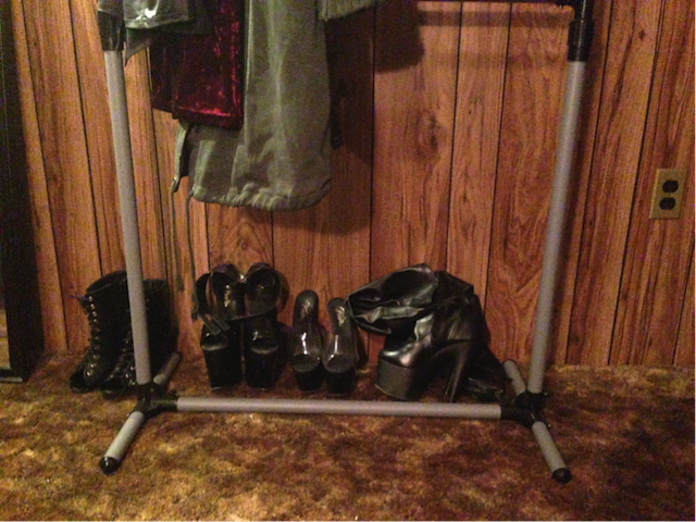 Shoes left behind by dommes and Jennifer's dungeon. Photo: Heather Dockray