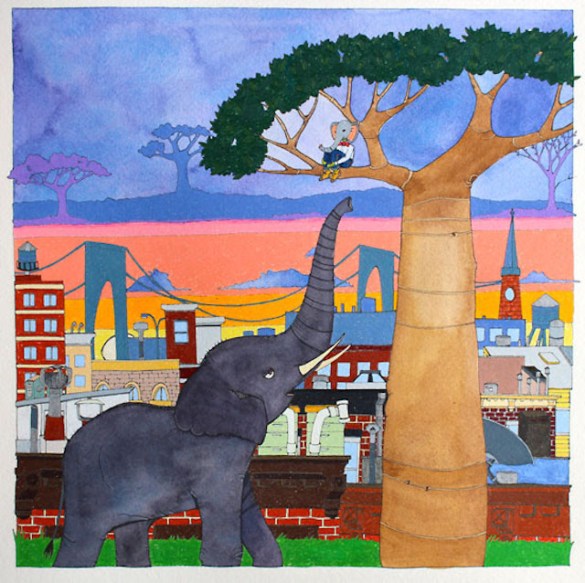 Artist Caroline Marshall Hill  depicts surreal urban images that kids are naturally drawn to. Photo: Ground Floor Gallery
