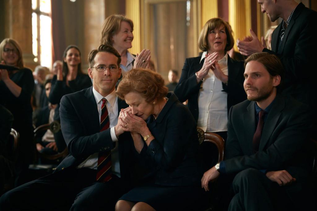Ryan Reynolds, Helen Mirren and Daniel Bruhl star in Woman in Gold. Photo: Robert Viglasky