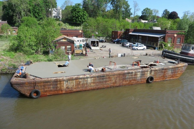 The future Brooklyn Barge Bar, currently docked in Kingston, NY for renovations. Photo: Brooklyn Barge Bar