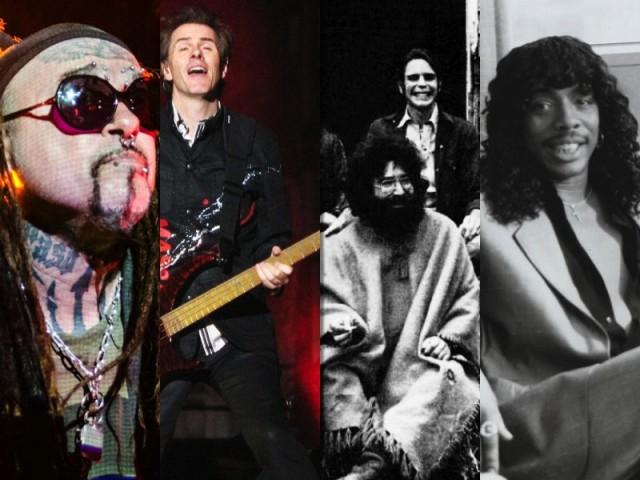 From l.-r.: Al Jourgensen of MInistry (Edifortini); John Taylor of Duran Duran (Luz A. Villa); The Grateful Dead (Warner Bros.); and Rick James (eBay). All images via WikiMedia Commons.