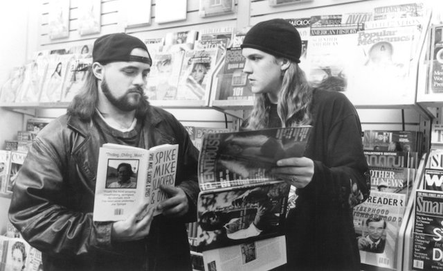 Jay and Silent Bob will be on hand (for real) at a special 20th anniversary screening of Mallrats this Tuesday night at 50 Kent. Photo: Gramercy Pictures