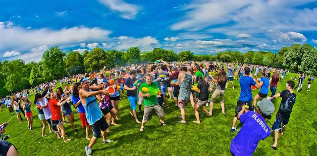 Cool off this weekend at a giant water gun fight in Central Park. Photo: Max Wei