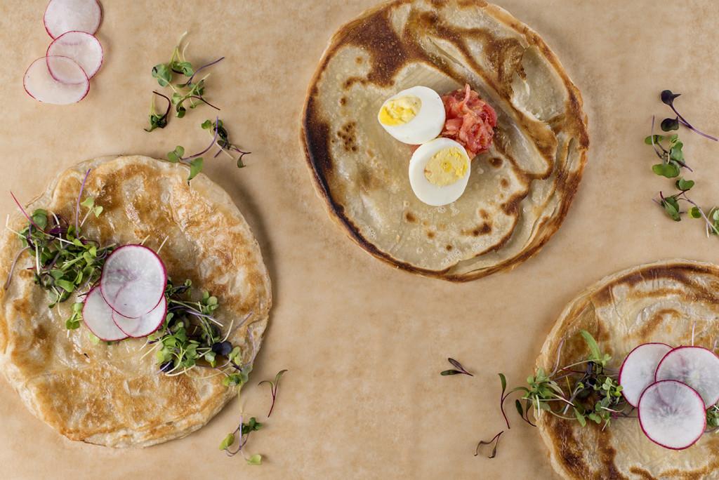 Malawach (fried bread) breakfast sandwiches)