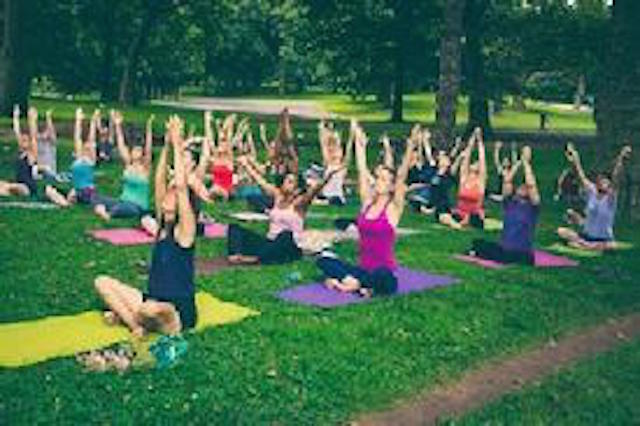 Free yoga in Prospect Park on Sunday morning is a nice way to close out the holiday weekend. Photo: NYCParks