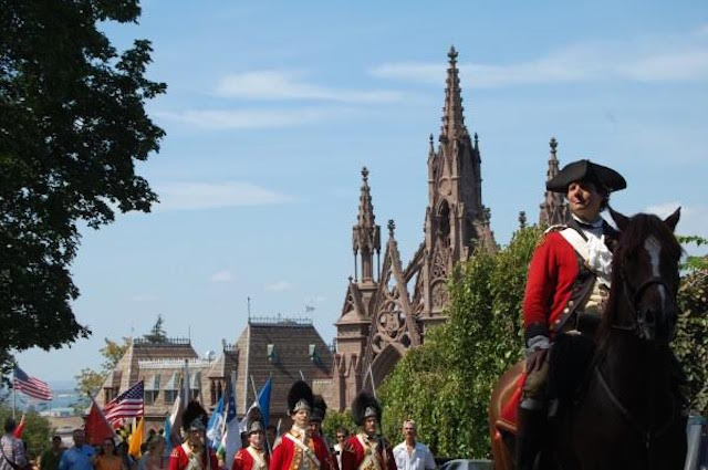 Relive a key moment in Revolutionary War history at Green-Wood Cemetery's annual commemoration and celebration of the Battle of Brooklyn on Sunday. Photo: Green-Wood Cemetery