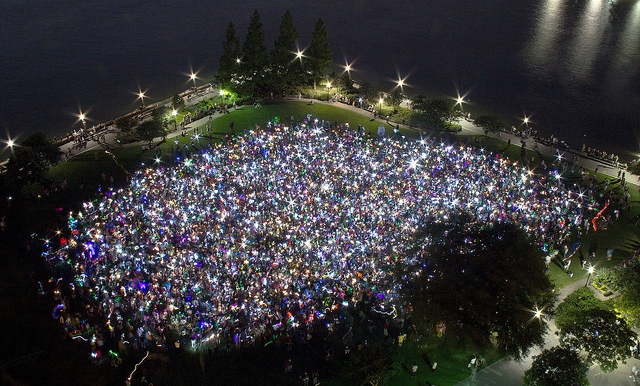 Be part of a giant, glow in the dark game happening this Friday night in Prospect Park by signing up for the Mp3 Experiment 12. Photo: Improv Everywhere