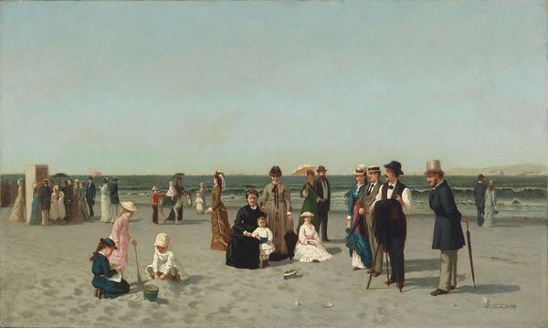 Samuel S. Carr (American, 1837–1908). Beach Scene, circa 1879. Oil on canvas, 12 x 20 in. (30.5 x 50.8 cm). Smith College Museum of Art, Northampton, Massachusetts; Bequest of Annie Swan Coburn (Mrs. Lewis Larned Coburn)