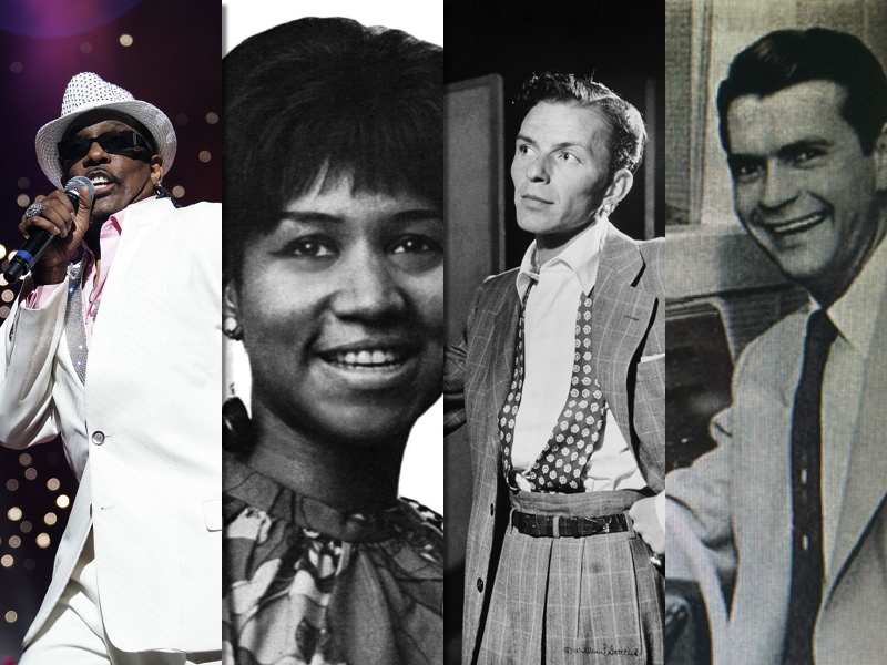 From l-r: Charlie Wilson, Aretha Franklin, Frank Sinatra, and Sam Phillips. (Wikipedia)