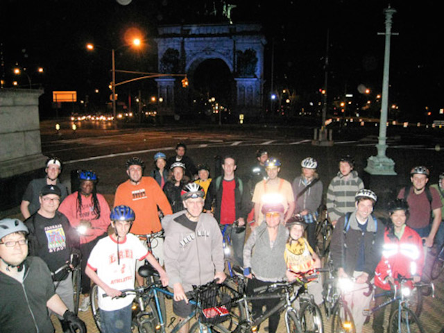 Experience Prospect Park at night by bike at Time's Up's monthly Moonlight Ride on Saturday night. Photo: Time's Up