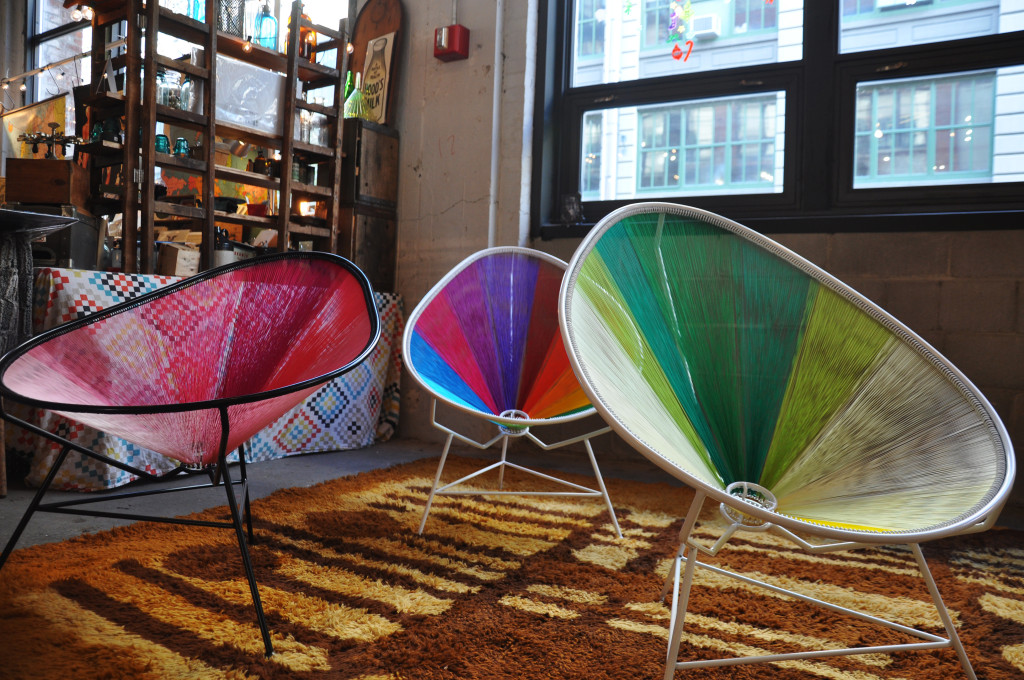 Pablo Iriarte's woven lounge chairs made out of multicolored thread, sold at Brooklyn Flea.