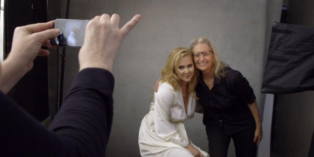 Amy Shumer and Annie Leibowitz behind the scenes of the Pirelli Calendar shoot. Photo: Annie Leibowitz Studios