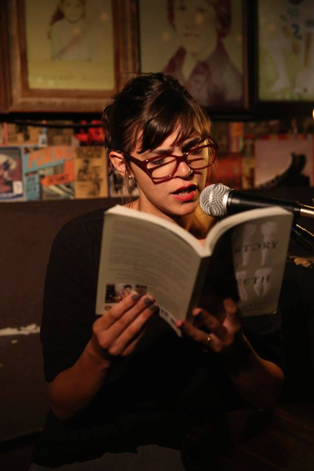 """Valeria Luiselli reads from her novel, """"The Story of My Teeth"""" at Franklin Park. Photo: Franklin Park Reading Series"""