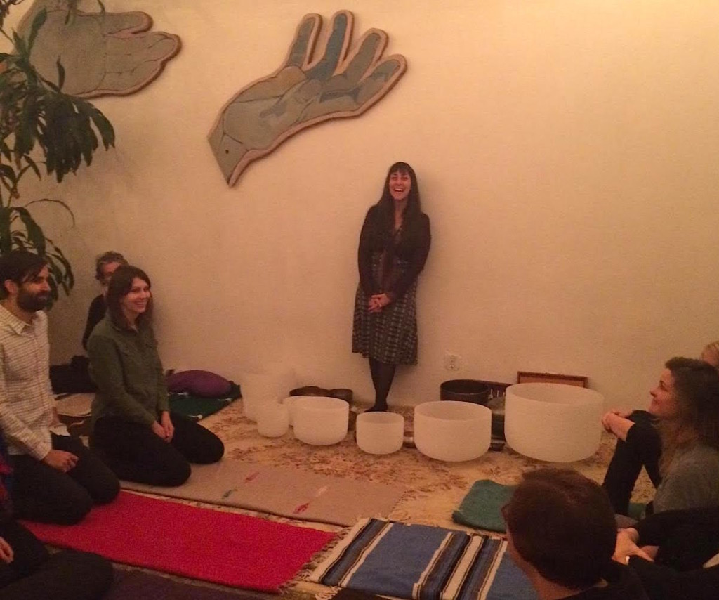Katie Down leads a monthly sound bath at Maha Rose in Greenpoint. Photo: Maha Rose