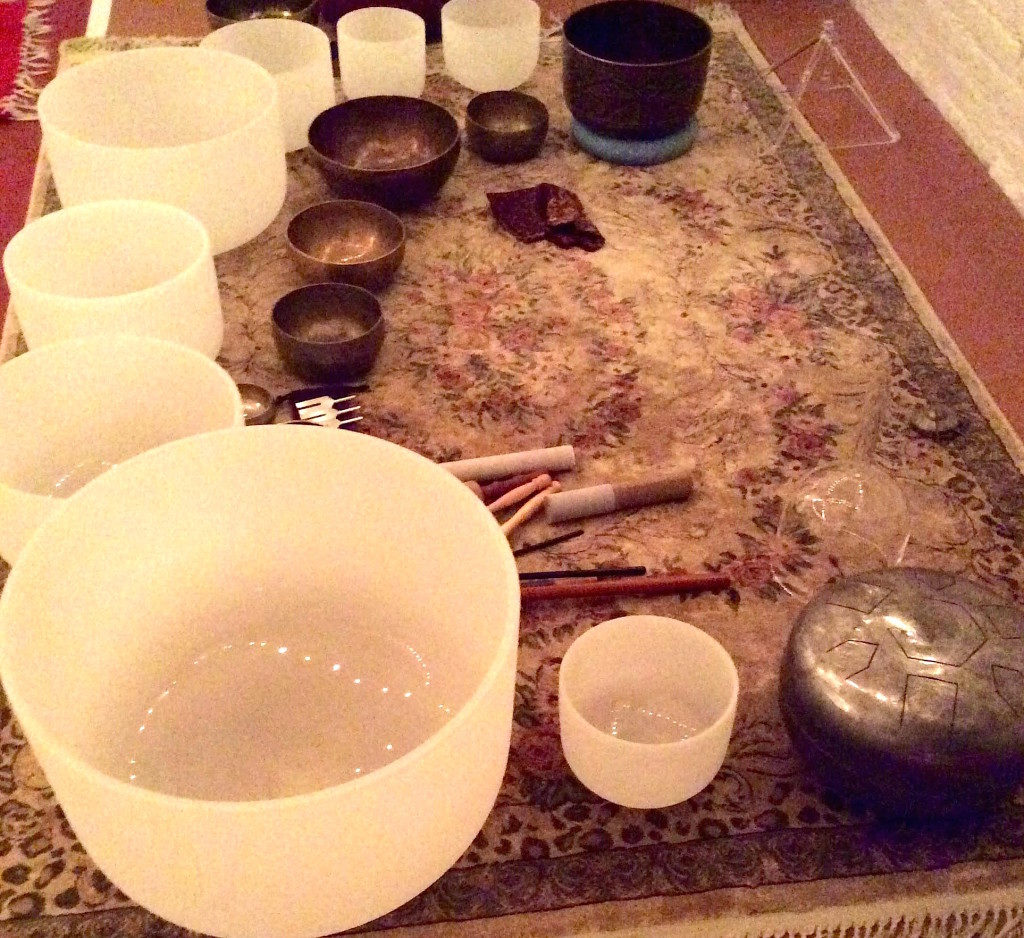 Quartz crystal bowls and other instruments create sonic vibrations for a sound bath. Photo: Maha Rose