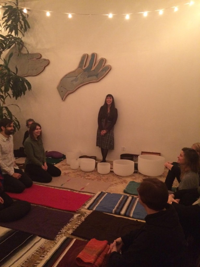 Katie Downs leads a sound bath at Maha Rose in Greenpoint. Photo: Maha Rose