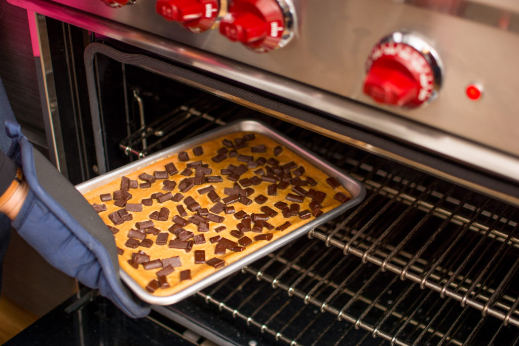 Choco chickpea going in the oven in Nancy Kalish's Carroll Gardens apartment and test kitchen. Photo: Spencer Starnes